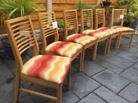 Solid Oak / Upholstered Dining Chairs x 6