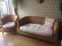 Habitat wicker chair and sofa settee set suite