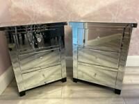 2 mirrored glass bedside cabinets tables