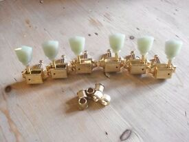 KLUSON 3 + 3 Tulip Single Ring Vintage Tuners - GOLD - for 335/ Les Paul etc