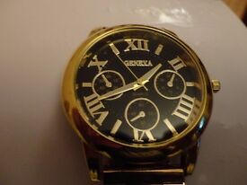 """watch stainless still roman letters geneva watch & 24"""" gold looking chain & love bangle"""