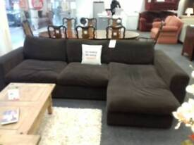 Brown fabric corner sofa at BHF Glasgow