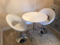 2 seater table and chairs, modern white set