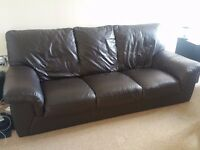 Chocolate Leather 3 Seater Sofa