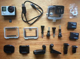 GoPro Hero 4 Silver in excellent condition + microSD card, 2 batteries, attachments