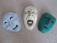 Garden wall hanging masks. Garden shed / wall ornaments.