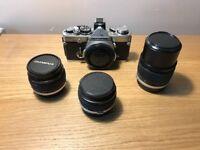 Olympus OM-2n Body plus 28mm, 50mm and 135mm Lenses