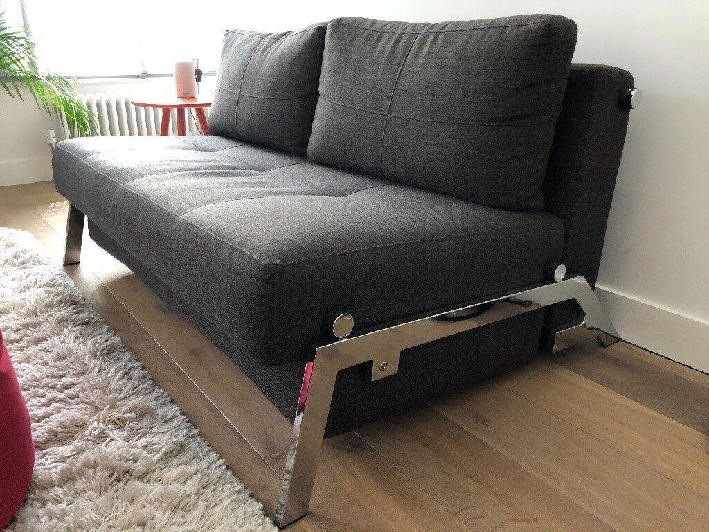 Sofa Bed Cubed 140 Danish Chrome Dark Grey Super Comfortable