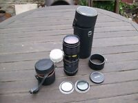 Vintage Vivitar 75-205 mm Close Focusing Zoom Lens and Accessories