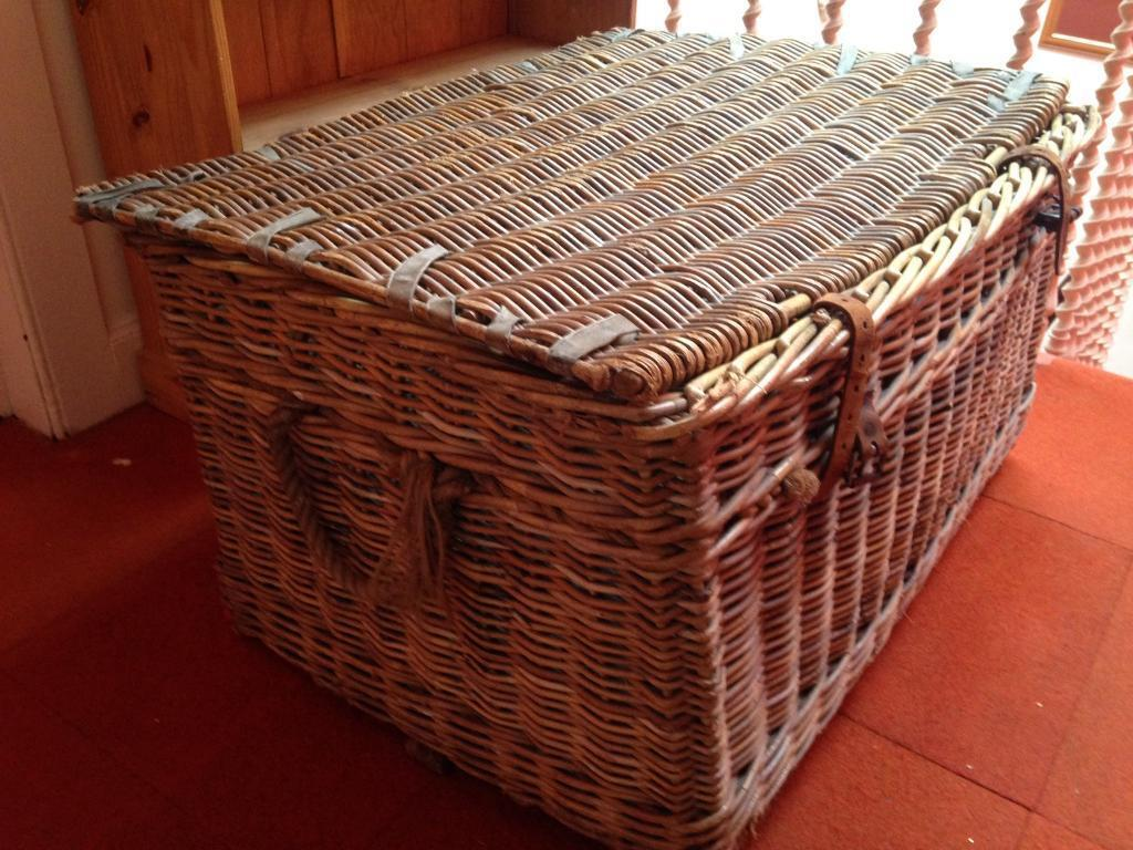 Large Vintage Stylish Woven Wicker And Leather Laundry