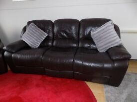 Dark Brown leather 3 & 2 reclining settees, 2 electric 2 manual.