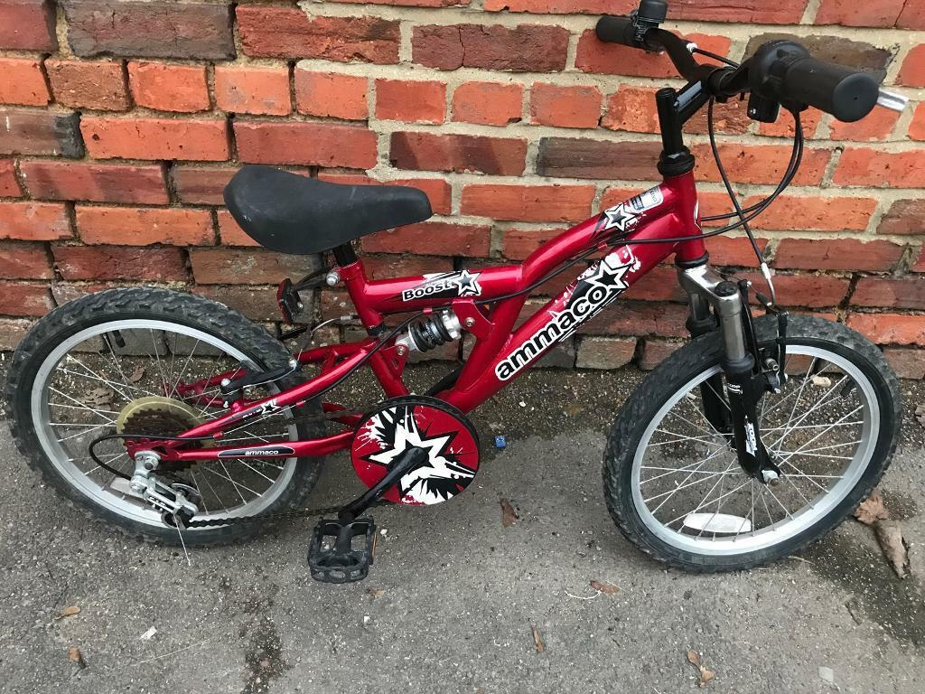 "Ammaco Boost Full Suspension, 18"" Wheel Kids Bike. Fully Serviced. Free Lock, Lights, Delivery"