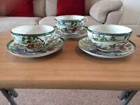 Traditional hand painted eggshell porcelain china tea cup and saucer 3 piece set-VERY GOOD CONDITION