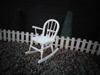 SOLID PINE CHILDREN'S ROCKING CHAIR PAINTED WITH LAURA ASHLEY CREAM COLOUR AND WAXED FOR PROTECTION