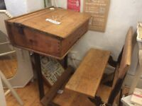 Rare Old Antique vintage school wooden desk with bench seat