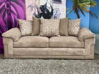 Phoenix Mocha Colour Fabric 3 Seater Sofa with Scatter Cushions
