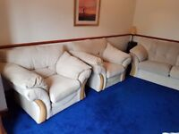 Very Comfortable Large Beige Flecked 2 to 3 seater sofa and two large armchairs Scotch Guard Treated