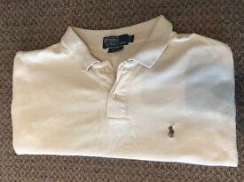 Men's Ralph Lauren long sleeved polo shirt - cream/off white