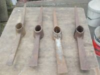 PICK AXE HEADS, FIVE POUNDS EACH. PICK UP MATLOCK OR NOTTINGHAM