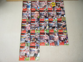 SUNDERLAND AFC MATCHDAY PROGRAMMES 2011-2012 X 22 PLUS OFFICIAL TEAM SHEETS X 22