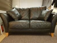 Lovely soft black leather 2 seater sofa