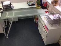 2 x Glass desks with attached storage