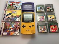 Yellow Nintendo Gameboy Color Console + 6 Games + Magnifier - Retro Game Boy Fun For Kids & Adults