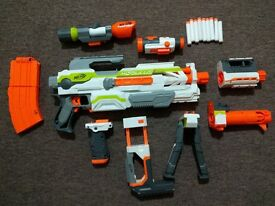 Nerf Modulus ECS10 Blaster & Nerf Modulus Long Range Upgrade Kit ( good working condition)