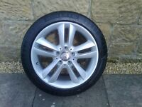 ALLOYS X 4 OF 17 INCH GENUINE MERCEDES C/CLASS CLK AND OTHERS FULLY POWDERCOATED INA STUNNING SILVER