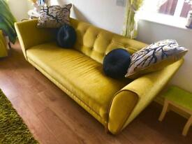 Dfs large 4 seater sofa mustard yellow colour