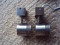 WINDOW DISPLAY LIGHTS chrome GU10 spot light fittings x 2