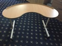 Over the chair kidney shaped adjustable table in excellent condition.