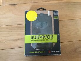 Survivor military-duty phone case and belt for iPhone 4S and iPhone 4