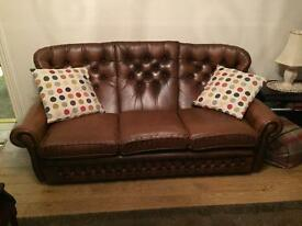 Lovely tan/brown leather sofa and chair