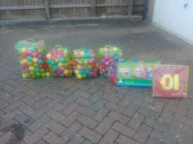 Job lot pool around200 plastic balls and hopscotch