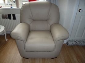 Leather beige armchair