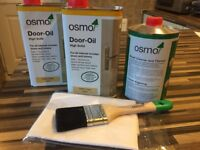 Osmo door oil, brush cleaner /thinners, Osmo brush and a lint free cloth