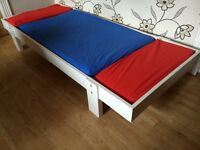 IKEA CHILDREN'S EXTENDING BED WITH MATTRESS AND SHEETS