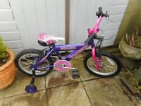 girls 16 inch wheel pink and purple vixen bike with stabilizers