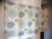 Roman blind with deluxe track and chrome pulley system. 185 cms wide 106 cms drop