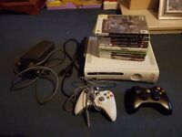 Xbox 360 fully works with 2 controls & 10 games