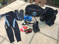 DIVING EQUIPMENT. x 2 SETS (USED). Job lot of diving gear from BCDs to tank banger! £350 ono