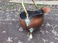 Large Copper Coal Scuttle