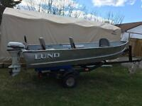 14' Lund with a 1997 15hp Johnson with trailer