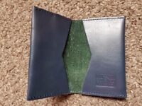 Blue Savile Row Leather Card Holder with Contrast Suede Inner