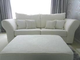 2x 3 seater sofa & white poofe