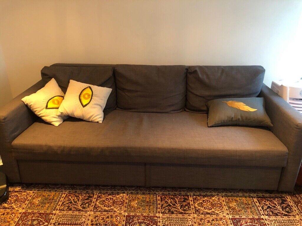 three seat sofa bed FRIHETEN IKEA   Skiftebo dark grey ...