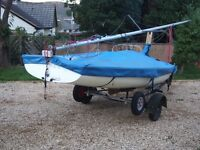 420 Sailing dinghy with road trailer and launching trolley