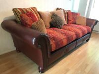 Bespoke Victorian Tetrad style Leather and Fabric 4 seater Sofa DELIVERY