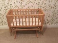 Mothercare gliding crib in natural wood